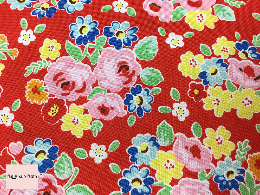 Riley Blake 'Bluebird on Roses' red floral quilting fabric