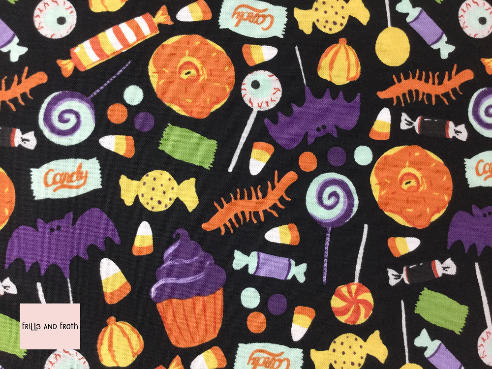 Riley Blake 'Hocus Pocus' Halloween 'Treats' quilting fabric Riley Blake 'Hocus Pocus' fabric features a sweet and spooky sweets and treats print.