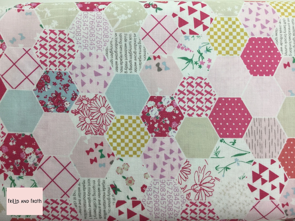 Riley Blake 'Moments' 'Hexagon' in Pink quilting fabric