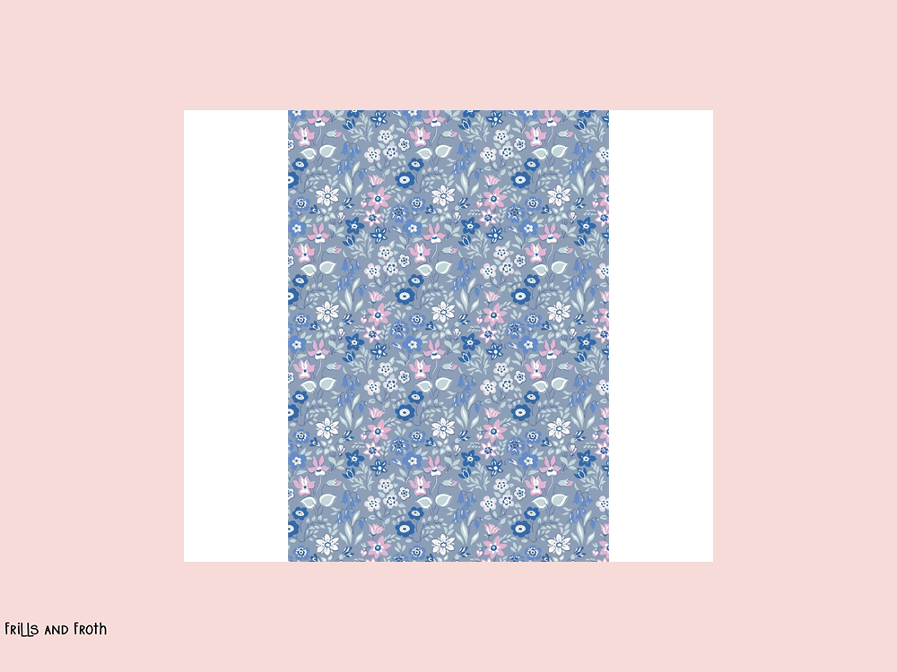 Liberty fabric 'Silver Bells' quilting fabric in blue & pink Liberty 'Silver Bells' fabric from the 'Deco Dance' collection features a blue & pink floral design.