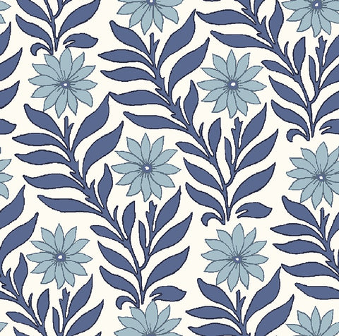 Sweet marigold fabric in blue part of the new fabric collection Hesketh house' from Liberty of London fabrics.. This 100% cotton quilting weight fabric features blue marigolds on a white background. sold by the metre and fat quarter in the UK by UK fabric seller frills and froth.