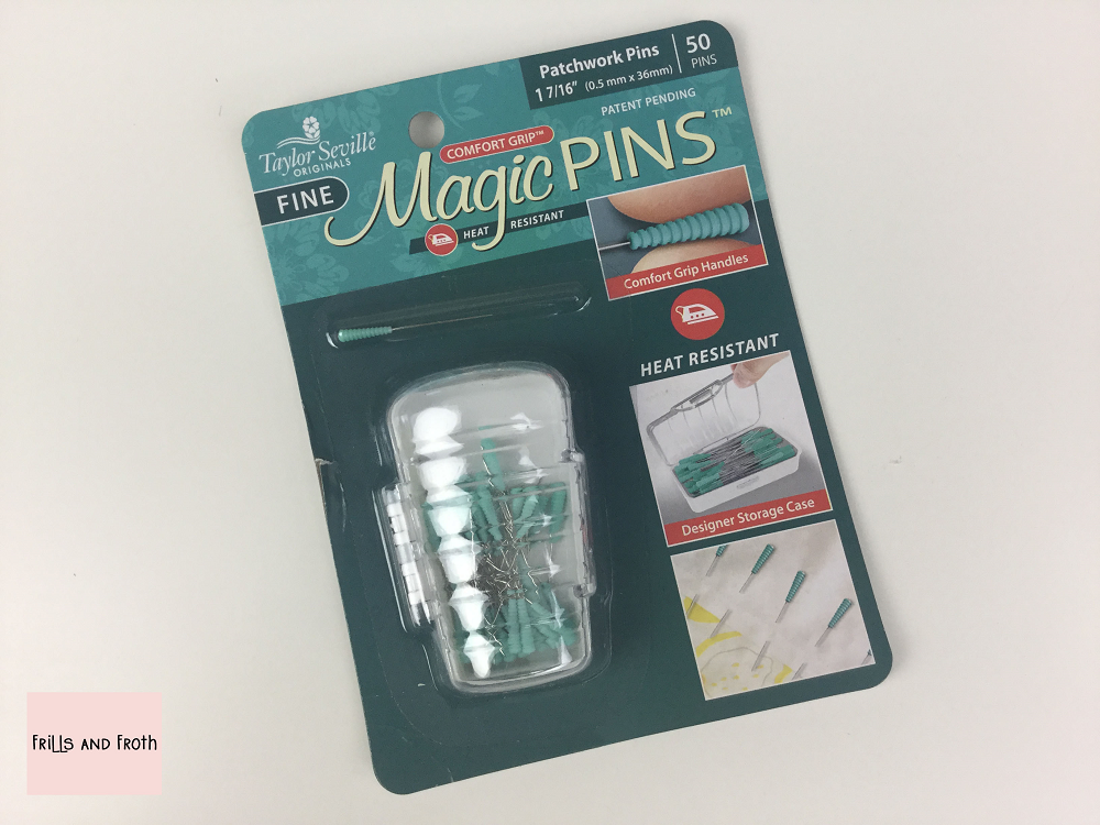 Taylor Seville 'Magic' Patchwork Pins Pack of 50 0.5mm diameter 36mm long. Comfort grip head which makes it fabulous for gripping and finding! The comfort grip is also heat resistant so no fear of melting or scratching while ironing. Supplied with their very own storage case.