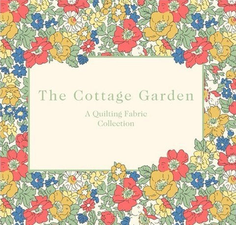 cottage garden liberty of london fabric 100% quilting weight cotton fabric with designs including flowers brick paths and delicate cottages and animals suitable for homewares quiulting dressmaking to and sewing craft blue fabric pink fabric