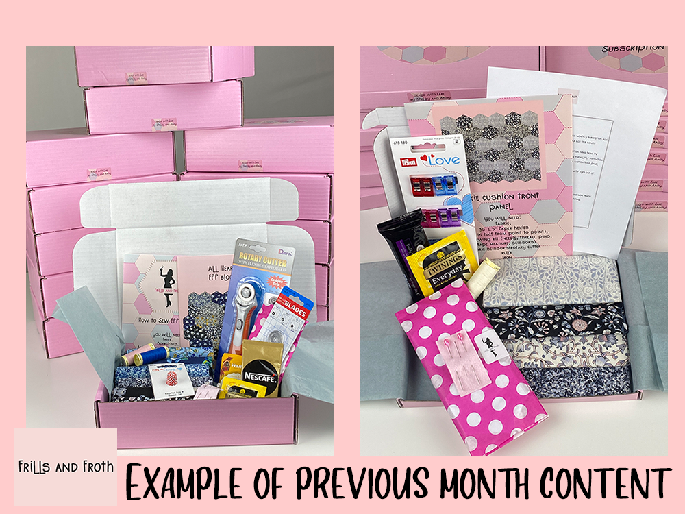 Picture showing the two sizes of our Liberty monthly subscription boxes. picture shows contents of box including Liberty fabric with completed boxes piled up behind.