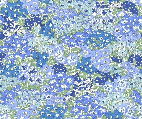 Liberty fabric, wisely grove in blue, blue floral fabric, frills and froth