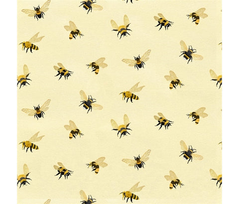 Studio E 'Bee a Keeper' fabric A 100% cotton quilting weight fabric. This fabric from Studio E fabrics features an all over bee print on a cream background. sold by Studio E fabrics fabric stockist Frills and Froth. seller of designer fabric from Studio E fabrics