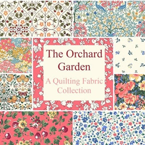 The Orchard Garden collection from Liberty of London. A stunning fabric collection with designs including bold flowers and delicate fruits. 100% cotton fabric collection with colourways from stunning blues to glorious pinks. Designs in this collection: Wild Cherry (blue) Wild Cherry (pink) Wisely Grove (multi colour) Wisely Grove (blue) Peach Bloom (pink/yellow) Peach Bloom (blue) Fruit Silhouette (turquoise) Fruit Silhouette (mustard) Fruit Silhouette (pink) Fruit Silhouette (blue)  Gated Shadow (blue) Pheasant Forest (multi colour) Pheasant Forest (blue) Garden Gates (pink and green) Garden Gates (blue) Orchard (blue/cream) Orchard (blue/red) Pome Blossom (blue/pink) Pome Blossom (blue/yellow) Kimberly & Sarah (blue & pink) Kimberly & Sarah (blue & yellow) Primula Dawn (blue & pink) Primula Dawn (blue)