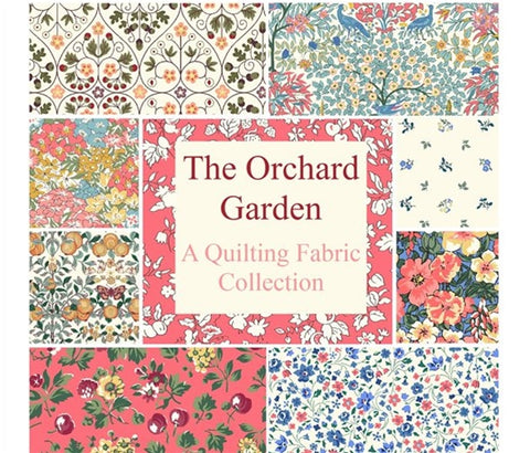 Orchard garden fabric collection from Liberty of London fabric collection from delicate flowers to bold retro print fabric 100% cotton fabric for dressmaking homewares quilting  sold by UK Liberty of London fabric stockist Frills and Froth. seller of designer fabric from Liberty