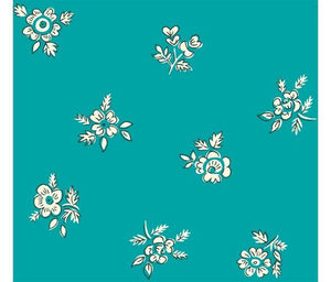 Liberty fabric 'Abbeywood' quilting fabric Liberty 'Abbeywood' fabric from the 'Flower Show Summer' collection features a white floral print on a solid teal background.