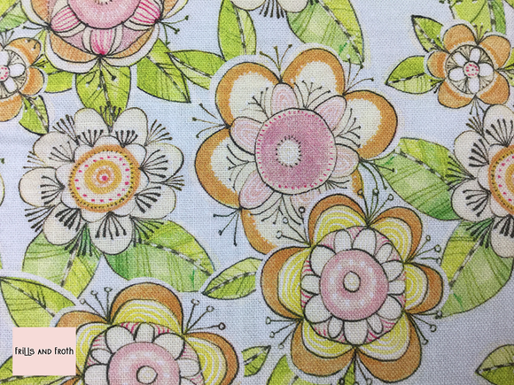 Blend 'Flower days' grey quilting fabric