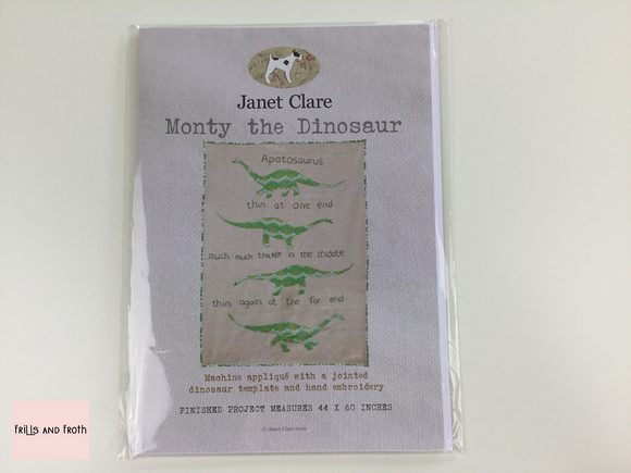 Janet Clare's 'Monty the Dinosaur' Paper Quilting Pattern