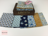 Liberty Fabric 'Emporium' Quilting Fabric Fat Quarter Bundle in Blue with Mustard Liberty Fabric 'Emporium' Quilting Fabric Fat Quarter Bundle in Blue with Mustard This bundle from the 'Emporium' collection by Liberty contains six fat quarters all in a blue colourway.