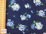 Liberty fabric 'Regent Rose' quilting fabric Liberty 'Regent Rose' fabric from the 'Emporium' collection features a blue and yellow floral design.