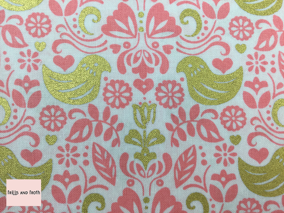Michael Miller 'Bird Buddies' pink quilting fabric
