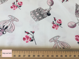 Michael Miller 'Gertie' fabric 'Eau de parfum' in white quilting fabric