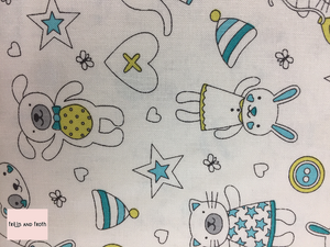 Michael Miller fabric 'Munchkins' in blue on white quilting fabric