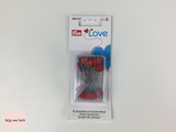 Prym Love, Flat Heart Shaped Pins 50 x 50mm long pins with pink, red and blue heart shaped heads.