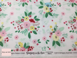 Riley Blake 'Singing in the Rain' 'Main' in White quilting fabric This quilting fabric from the 'Singing in the Rain' collection by Riley Blake features a floral print on a white background.