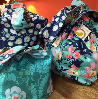 Amy Butler Blue Vines/Green Floral Small Binkwaffle Bags