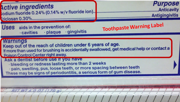 Fluoride toothpaste warning label