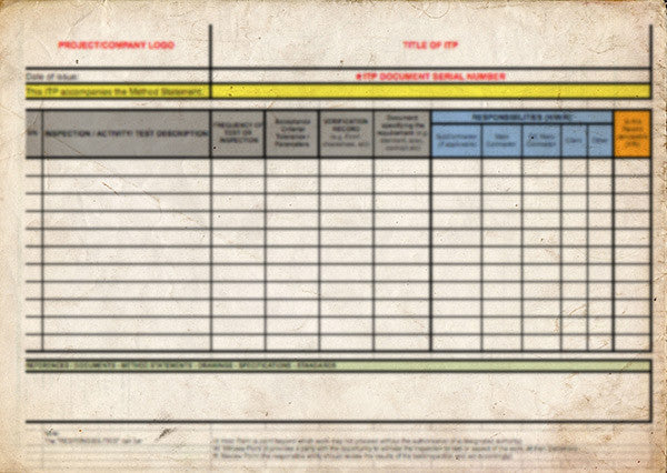inspection and test plan template  itp