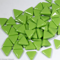 711-g - Lime Green Triangles, TriangleGloss tile - Kismet Mosaic - mosaic supplies