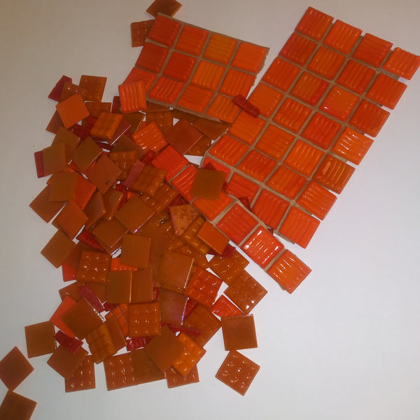 Grab Bag--Red/Orange Vitreous Glass Tile