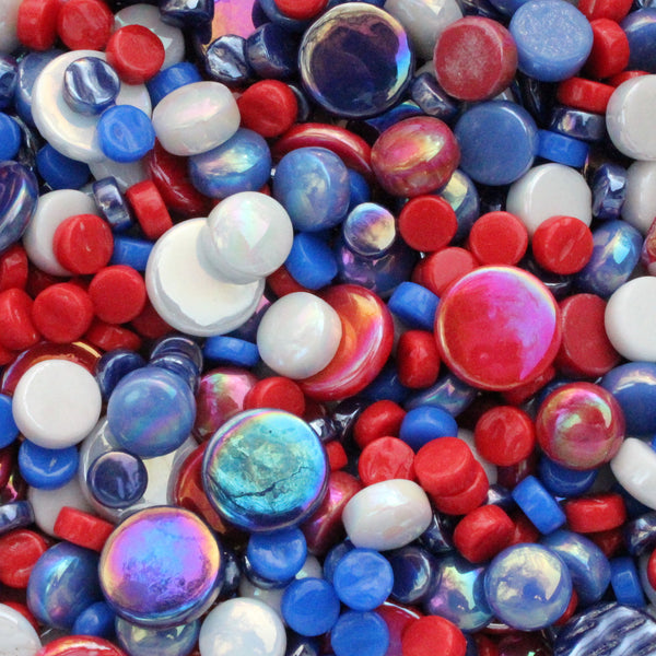 4th July Mini Rounds, 4thJulyMix tile - Kismet Mosaic - mosaic supplies
