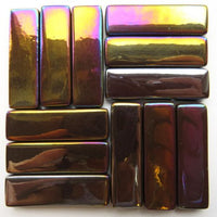 5100-i - Dark Chocolate Rectangles - Iridescent, KismetRectangle tile - Kismet Mosaic - mosaic supplies