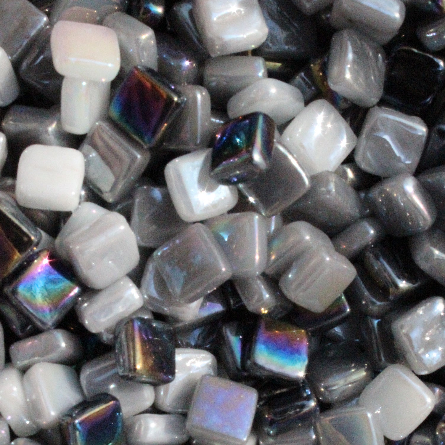 8mm - Black, Whites, Grays - Iridescent8mm Assortments - Kismet Mosaic