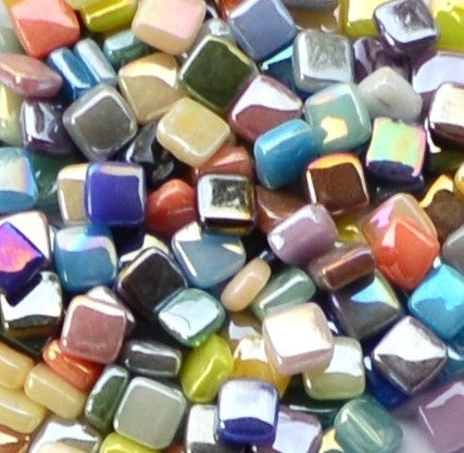 Assorted Colors - Iridescent, 8mm Assortments tile - Kismet Mosaic - mosaic supplies