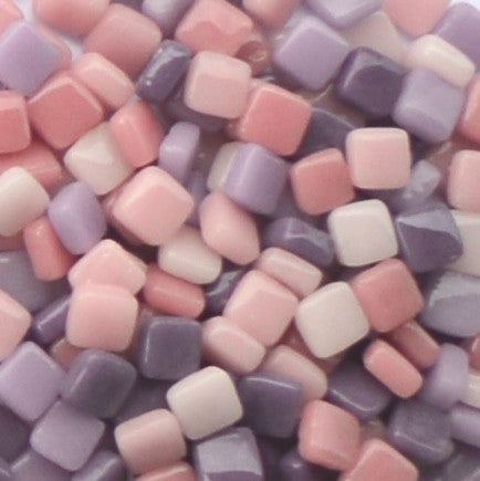 Assorted - Pinks & Purples - Gloss, 8mm Assortments tile - Kismet Mosaic - mosaic supplies