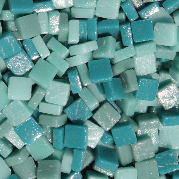 Assorted - Teals - Matte, 8mm Assortments tile - Kismet Mosaic - mosaic supplies