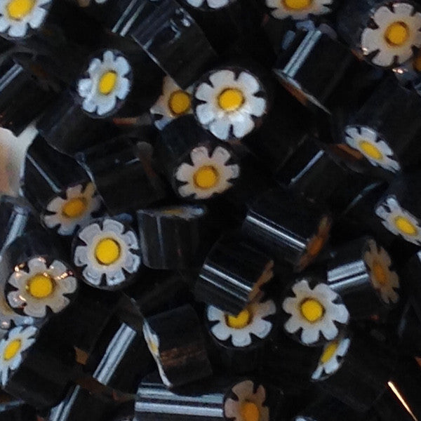 M07 - Black/White/Yellow Flower (7-8mm)Millefiori - Kismet Mosaic