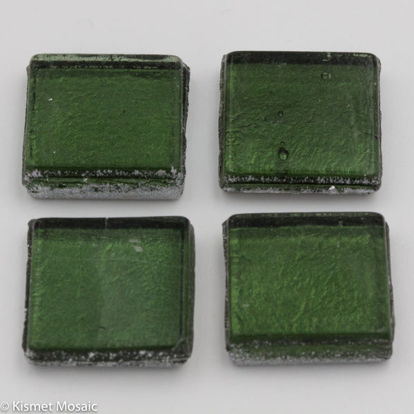 FL12 - Brush Green, 15mmFoil tile - Kismet Mosaic - mosaic supplies