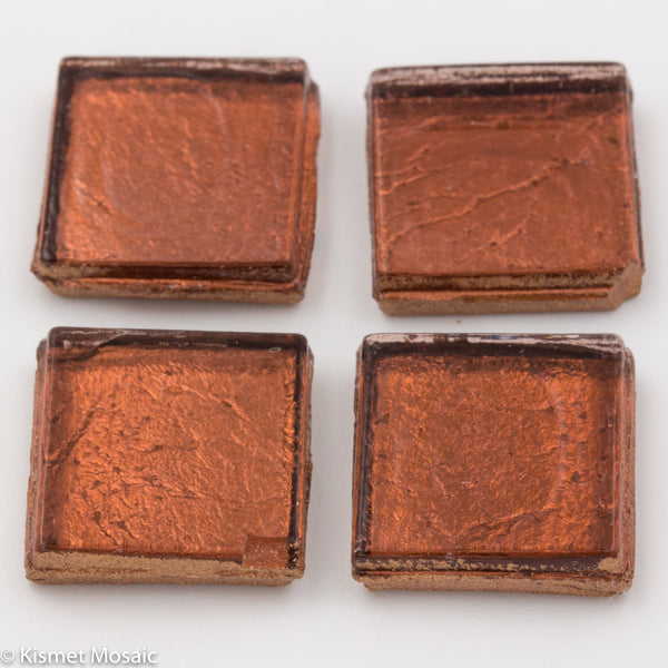 FL14 - Copper, 15mmFoil tile - Kismet Mosaic - mosaic supplies
