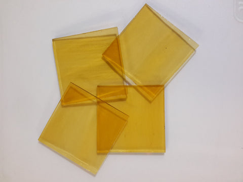 "Yellow Translucent Stained Glass 2"" cuts"