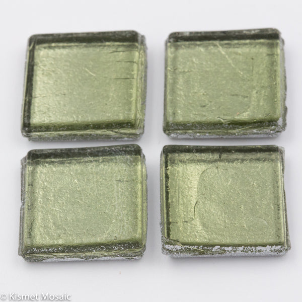 FL10 - Light Sage, 15mmFoil tile - Kismet Mosaic - mosaic supplies