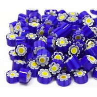 M11 - Blue/Yellow Flower (9-10mm), Millefiori tile - Kismet Mosaic - mosaic supplies