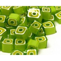M13 - Lime Green Square (8-9mm), Millefiori tile - Kismet Mosaic - mosaic supplies
