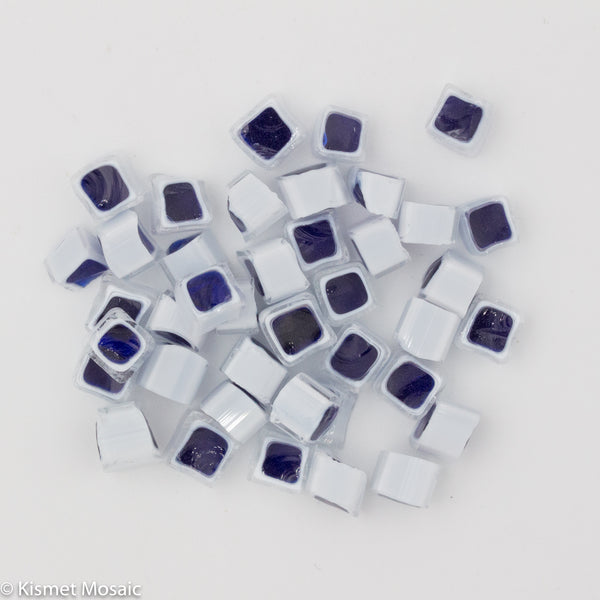 M18 - Blue/White Square (7-8mm), Millefiori tile - Kismet Mosaic - mosaic supplies