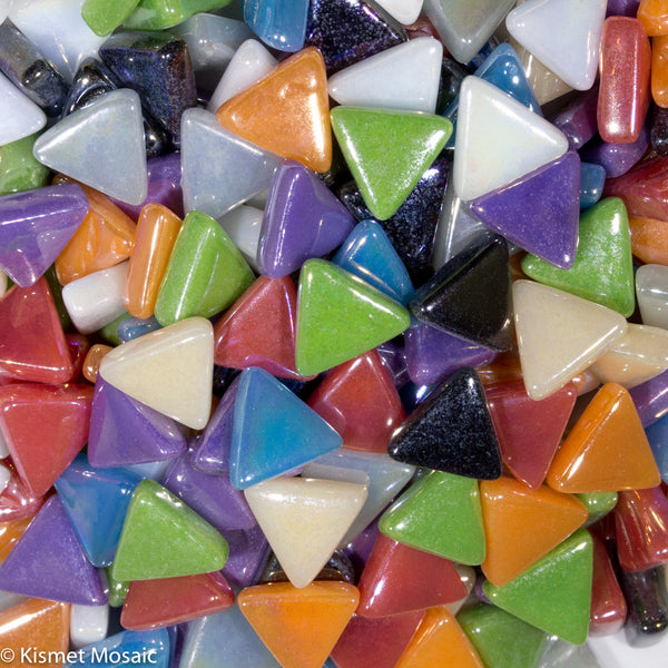 700-i Mixed Iridescent Triangles, TriangleIrid tile - Kismet Mosaic - mosaic supplies