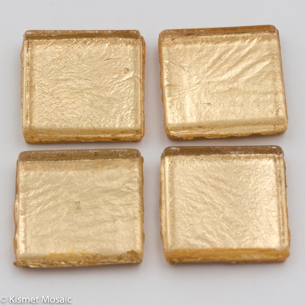 FL2 - Soft Gold, 15mmFoil tile - Kismet Mosaic - mosaic supplies