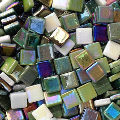 12mm - Iridescent, StPatrickMix tile - Kismet Mosaic - mosaic supplies