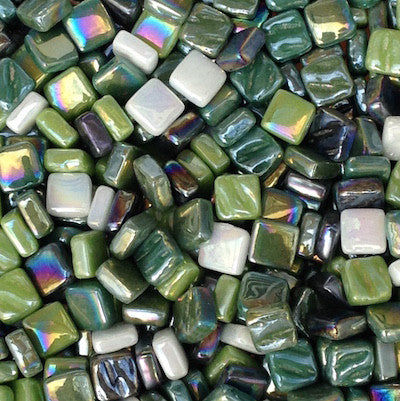 8mm - Iridescent, StPatrickMix tile - Kismet Mosaic - mosaic supplies