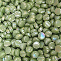 411-i Lime Green Mini Rounds, MiniRoundIrid tile - Kismet Mosaic - mosaic supplies