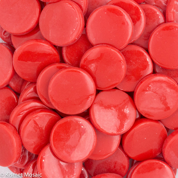 2107-g - Chili Red - Gloss Penny Rounds, PennyRoundGloss tile - Kismet Mosaic - mosaic supplies