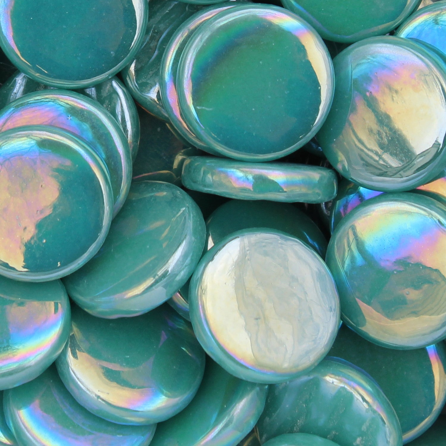 214-i - Teal - Iridescent, PennyRoundIrid tile - Kismet Mosaic - mosaic supplies