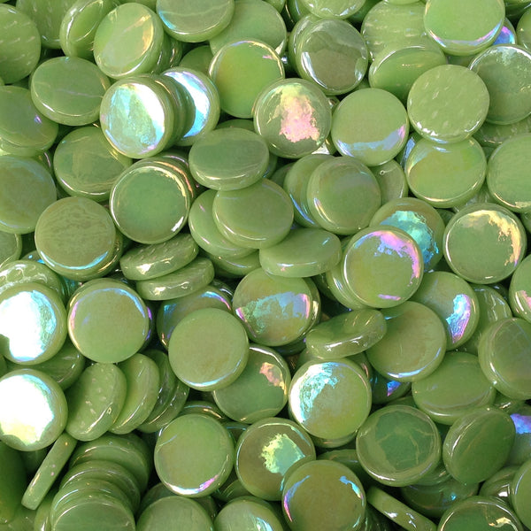 203-i - Apple Green - Iridescent Penny Rounds, PennyRoundIrid tile - Kismet Mosaic - mosaic supplies