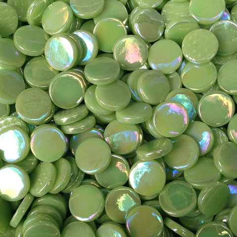 203-i - Apple Green - Iridescent Penny Rounds